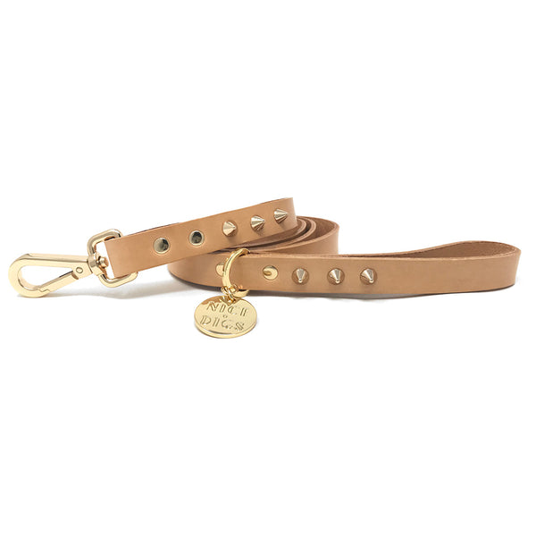 Smooth Spike Leather Dog Leash - Gold Tan