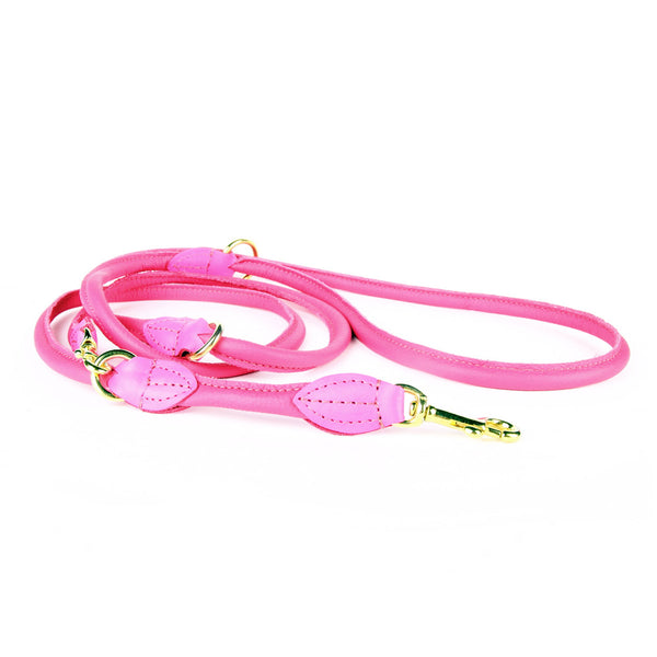 Rex Adjustable Nappa Leather Leash - Pink