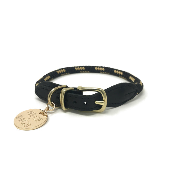 Rope Dog Collar - Gold Noir