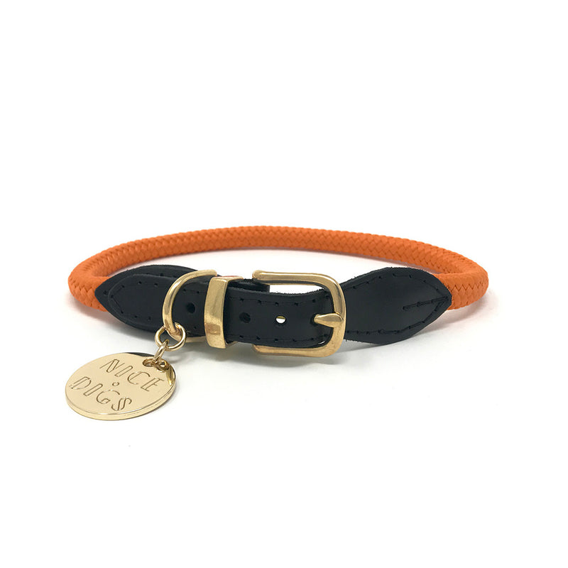 Rope Dog Collar - Orange
