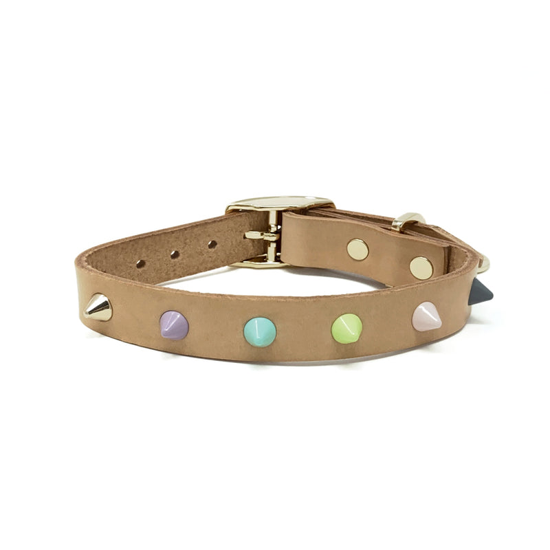 Smooth Spike Leather Dog Collar - Pastel Party Tan