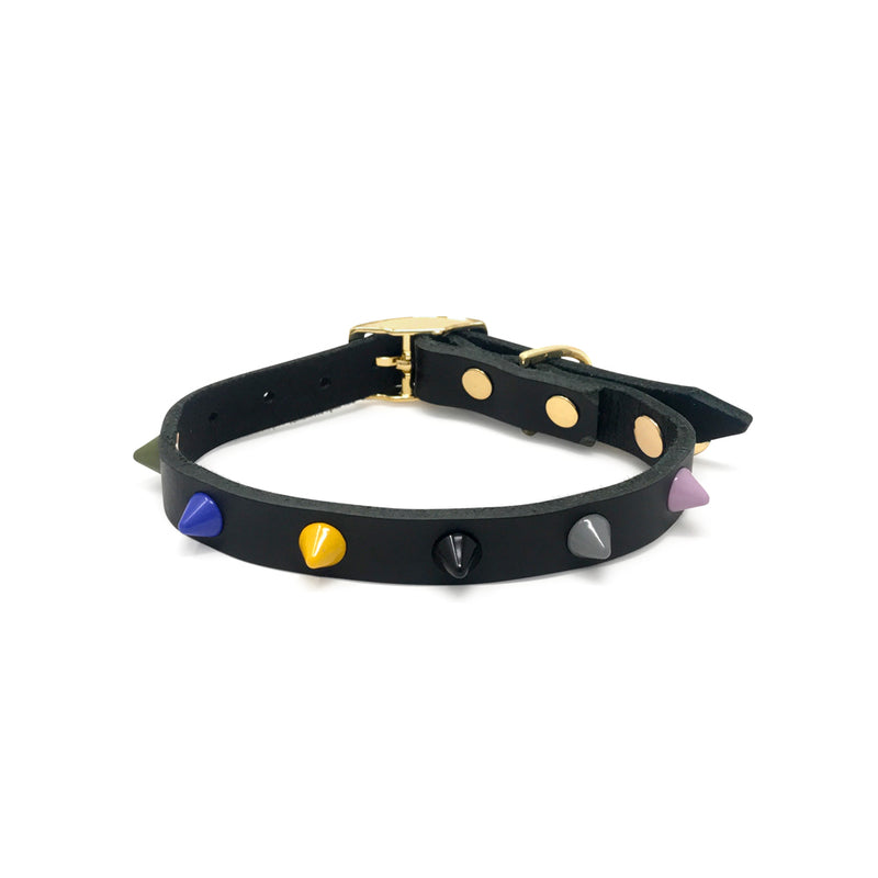 Smooth Spike Leather Dog Collar - Rocky Noir