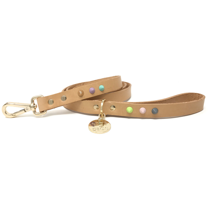 Smooth Spike Leather Dog Leash - Pastel Party Tan