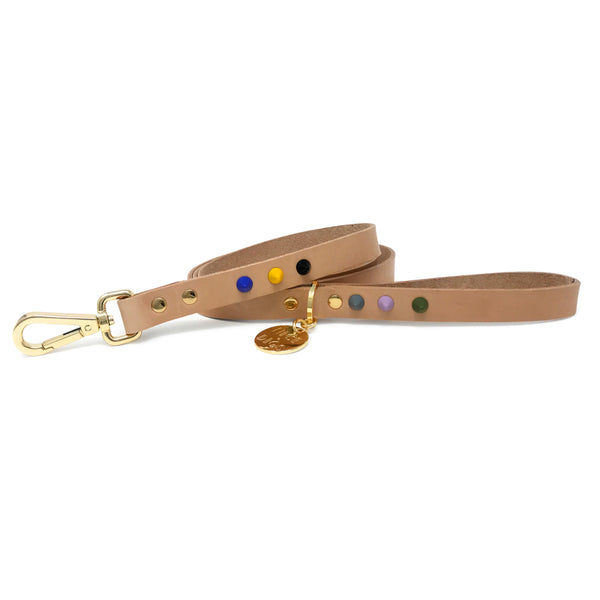 Smooth Spike Leather Dog Leash - Rocky Tan