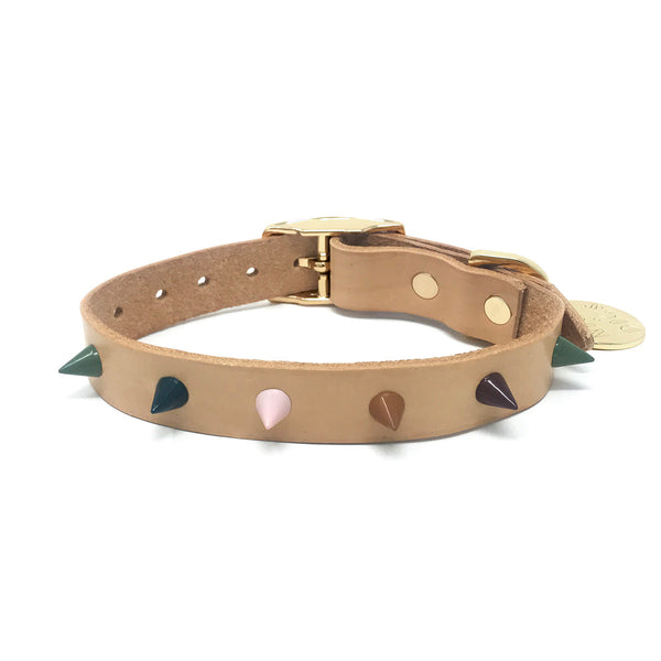 Spike Leather Dog Collar - Forest Tan