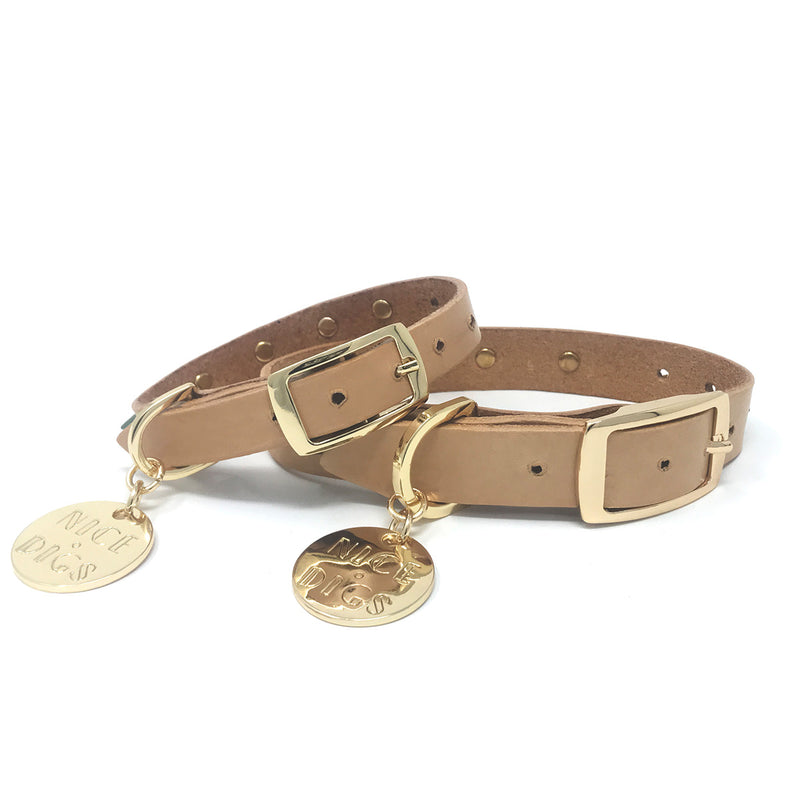 Original Spike Leather Dog Collar - Forest Tan