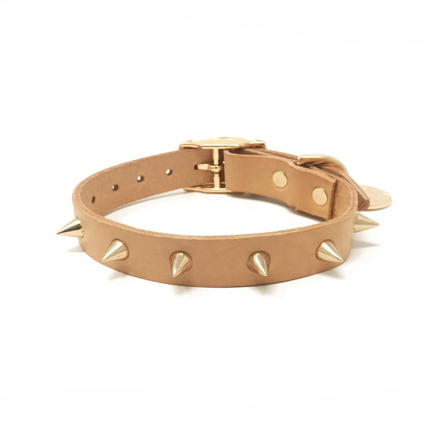 Spike Leather Collar - Gold