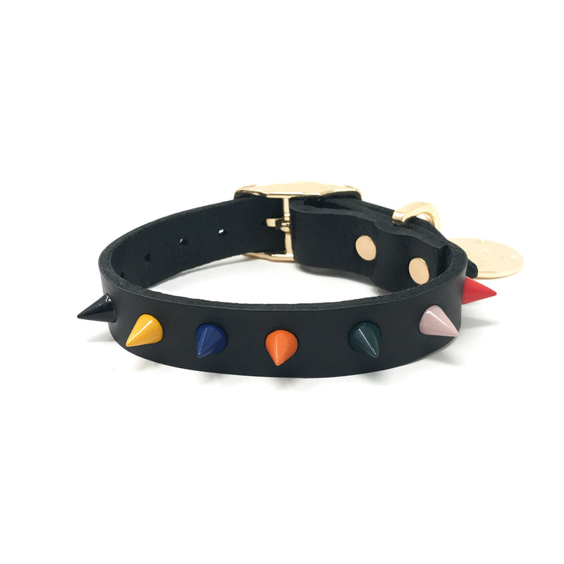Spike Leather Dog Collar - Jungle Noir