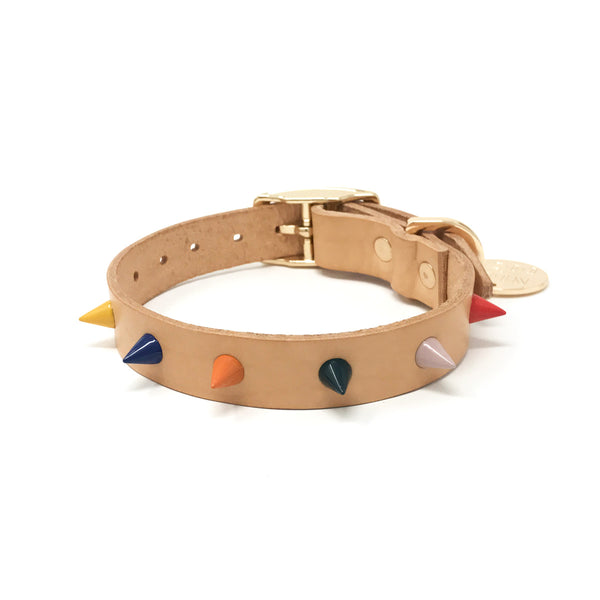 Spike Leather Dog Collar - Jungle