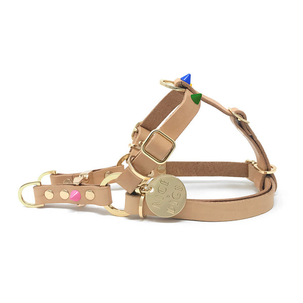 Spike Leather Non-Pull Dog Harness - Memphis Tan
