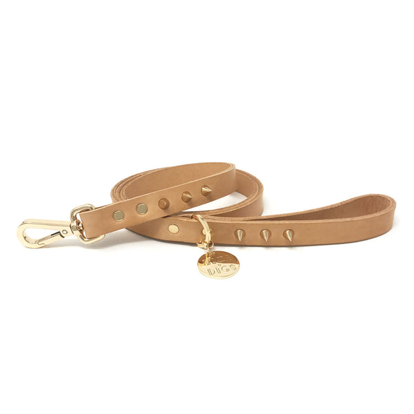 Spike Leather Leash - Gold