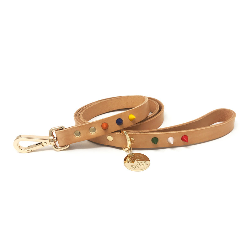 Spike Leather Dog Leash - Jungle