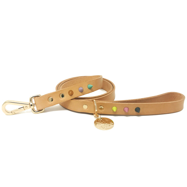 Original Spike Leather Dog Leash - Pastel Party Tan