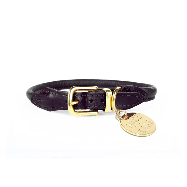 Stevie Rolled Nappa Leather Collar - Black