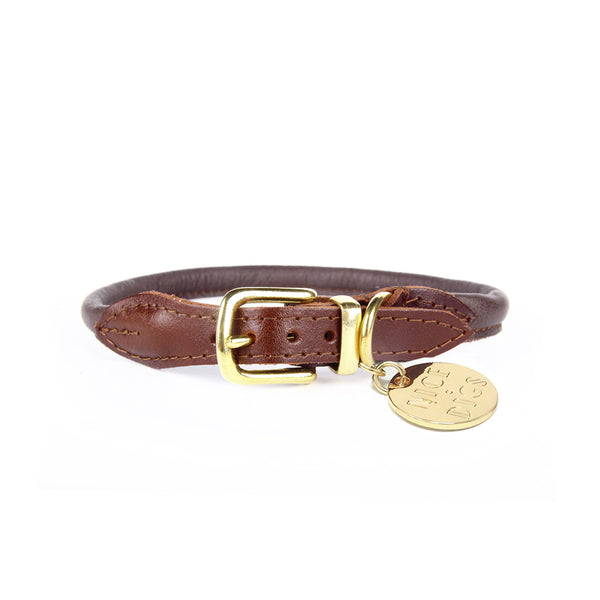 Stevie Rolled Nappa Leather Collar - Chocolate
