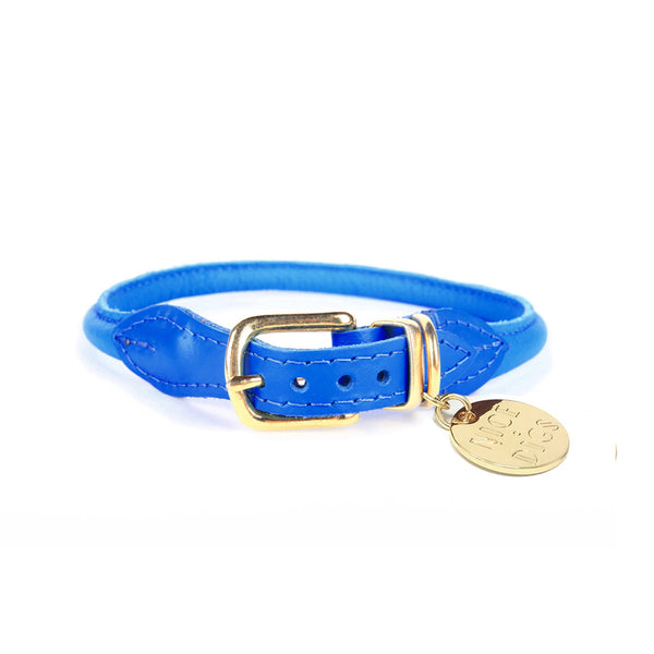 Stevie Rolled Nappa Leather Collar - Electric Blue