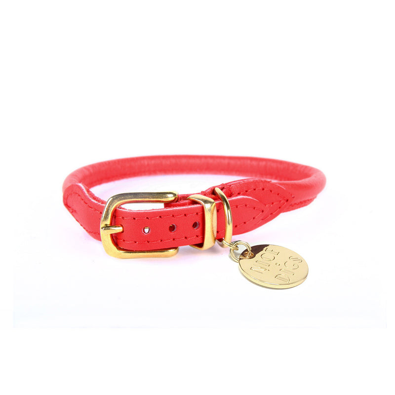 Stevie Rolled Nappa Leather Collar - Red