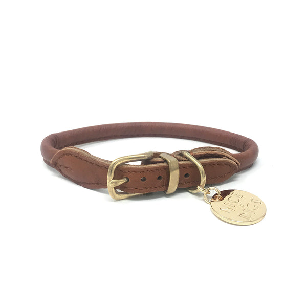 Stevie Rolled Nappa Leather Collar - Vintage Tan