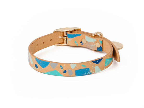 Terrazzo Leather Dog Collar