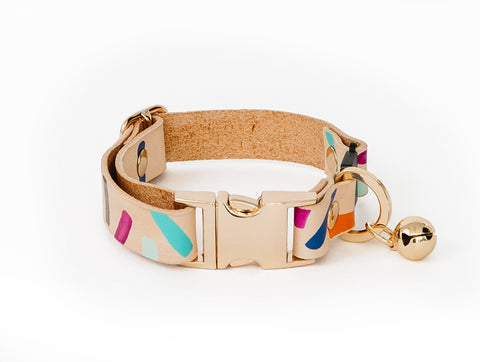 Tiggy Leather Cat Collar - Palm Springs