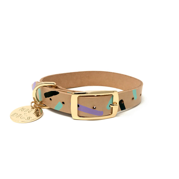 Tiggy Leather Collar - Aqua Violet