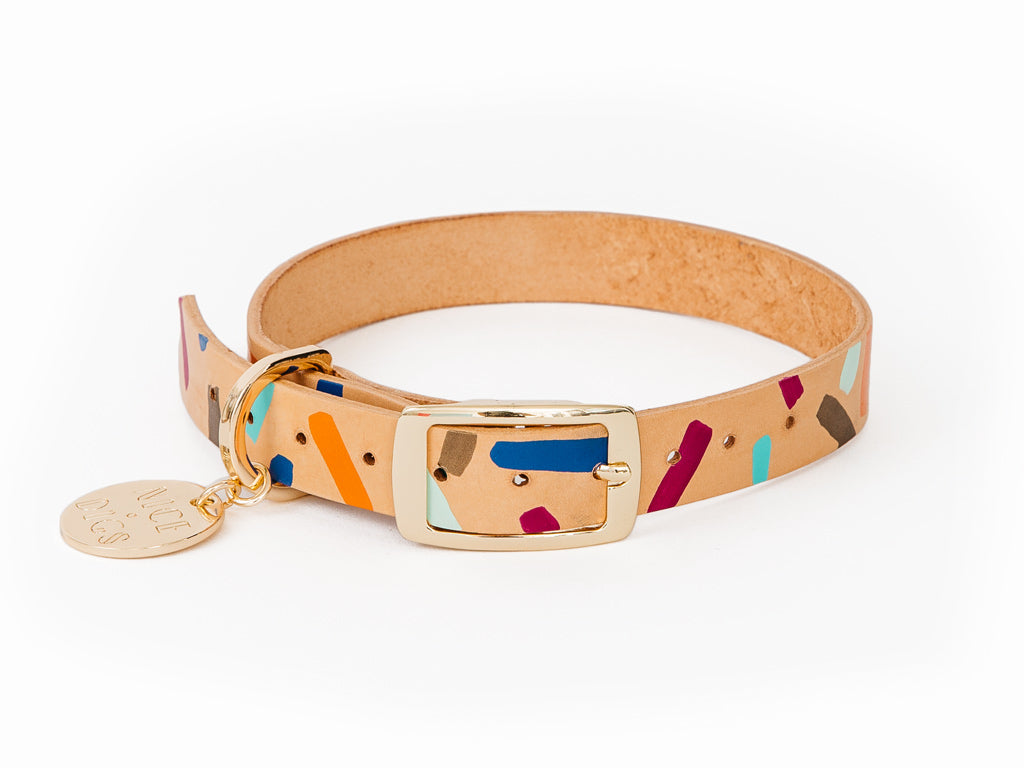 Tiggy Leather Dog Collar - Palm Springs