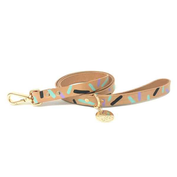 Tiggy Leather Leash - Aqua Violet