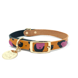 Two Tone Leather Dog Collar - Orange Animal