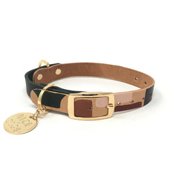 Two Tone Leather Dog Collar - Shapes