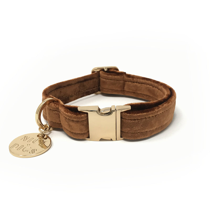 Velvet Dog Collar - Copper