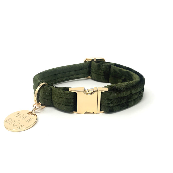 Velvet Dog Collar - Evergreen