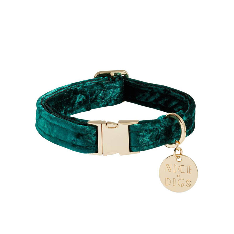Velvet Dog Collar - Jade