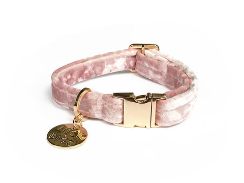 Velvet Dog Collar - Rose