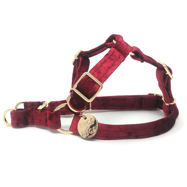 Velvet Non-Pull Dog Harness - Crimson