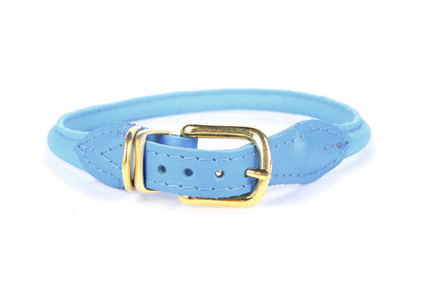 Stevie Rolled Nappa Leather Collar - Aqua