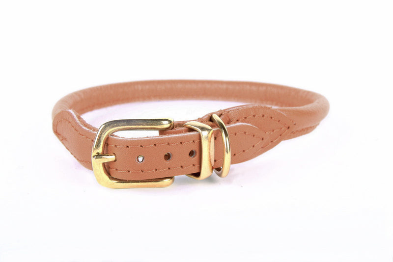 Stevie Rolled Nappa Leather Collar - Cognac