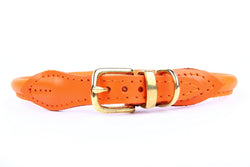 Stevie Rolled Nappa Leather Collar - Orange