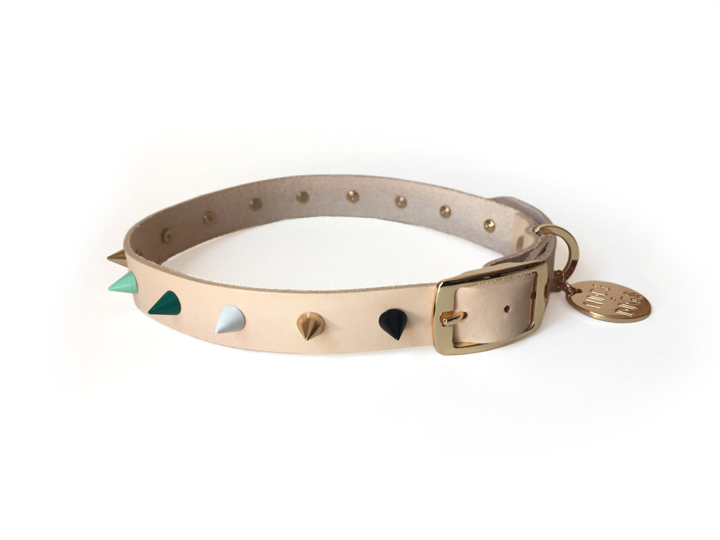 Spike Leather Collar - Green with Envy