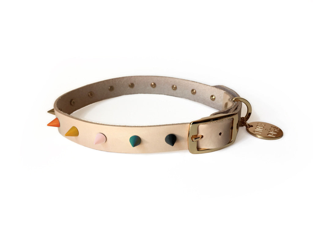 Spike Leather Dog Collar - Jaded Rose