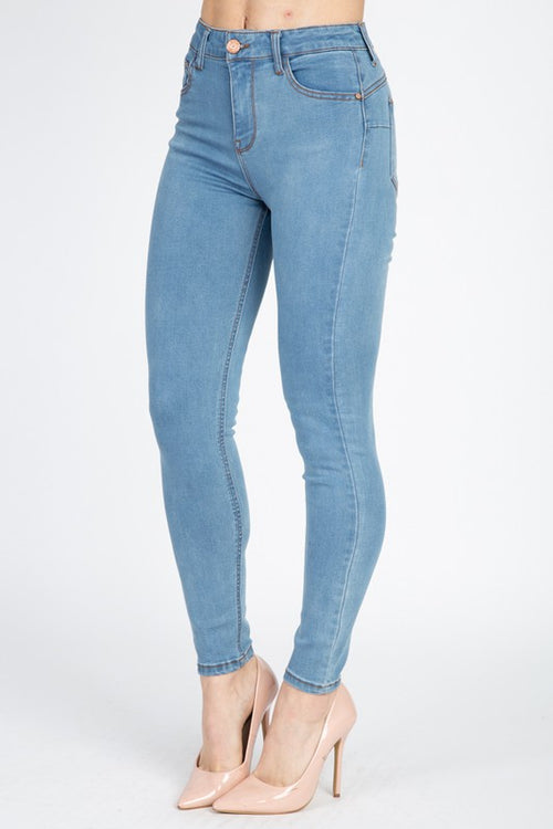HIGH RISE SKINNY JEANS-BOTTOMS-Fashion Bombshellz | Online Boutique