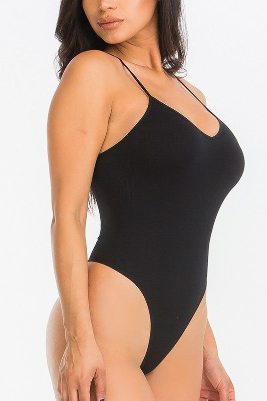 BLACK SEAMLESS BODYSUIT-Tops-Fashion Bombshellz | Online Boutique