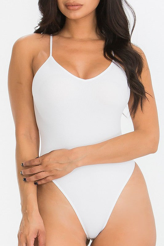 WHITE SEAMLESS BODYSUIT-Tops-Fashion Bombshellz | Online Boutique