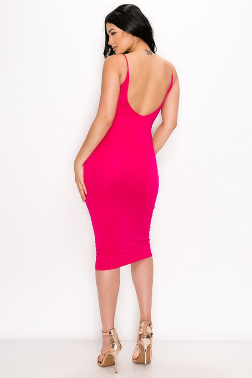 JESSICA MIDI DRESS | FUCHSIA-DRESS-Fashion Bombshellz | Online Boutique