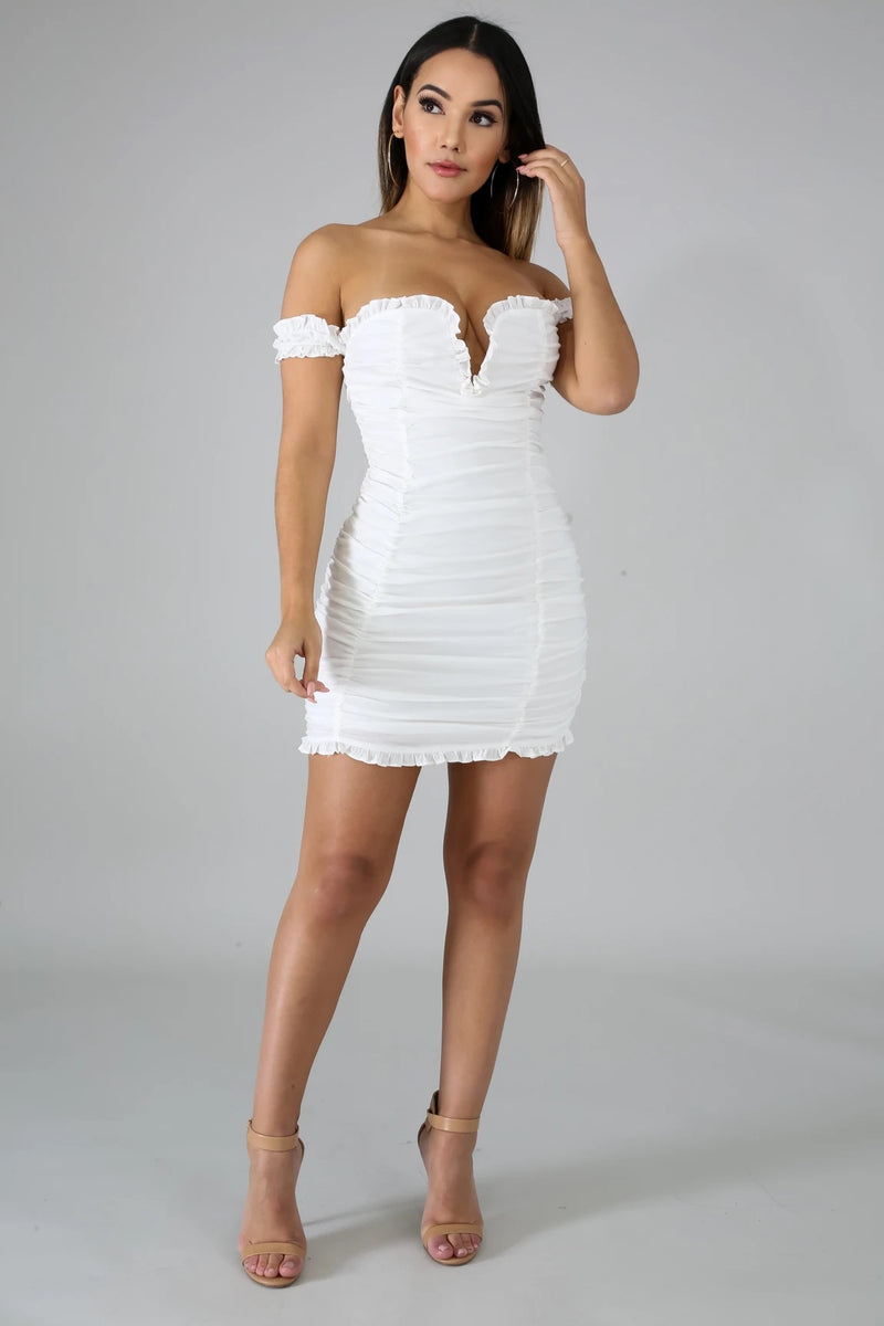 LILY RUCHED DRESS-DRESS-Fashion Bombshellz | Online Boutique