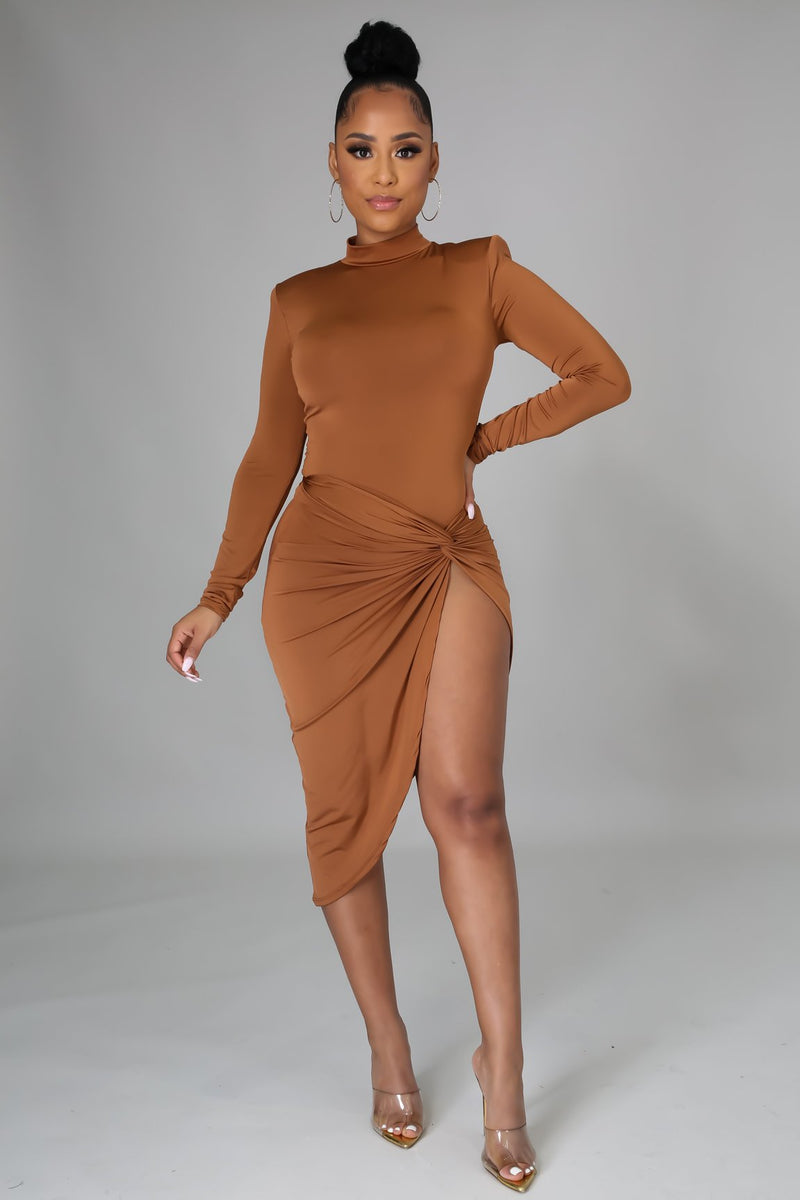 READY FOR TONIGHT SET | CAMEL-DRESS-Fashion Bombshellz | Online Boutique