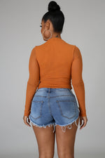 RUST SHEER BODYSUIT-Tops-Fashion Bombshellz | Online Boutique