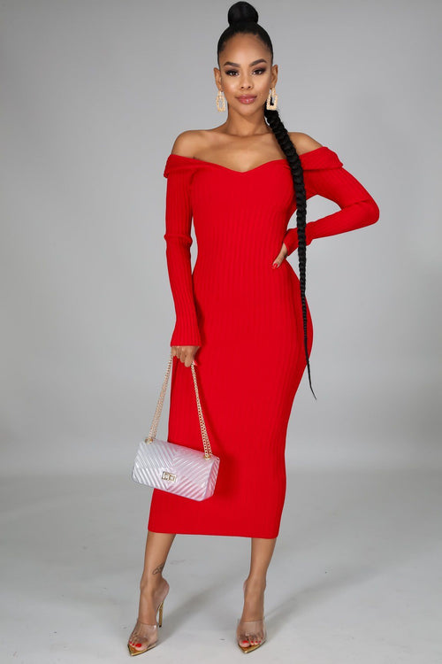 FLIRTY MIDI DRESS | RED-DRESS-Fashion Bombshellz | Online Boutique