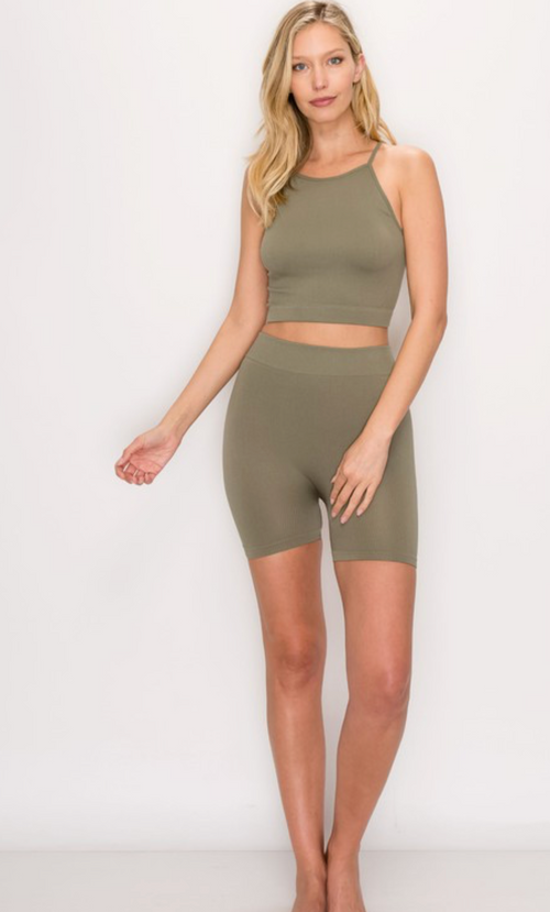 SEAMLESS SET | OLIVE-Set-Fashion Bombshellz | Online Boutique