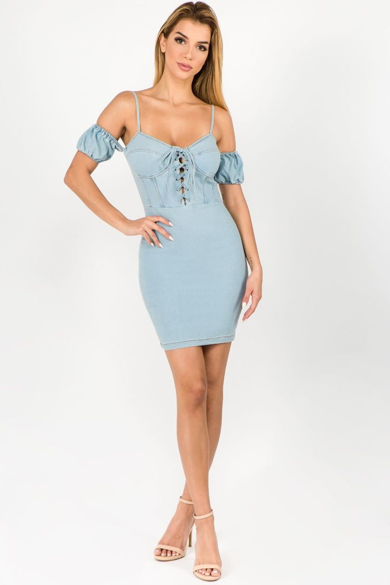 DENIM MINI DRESS-DRESS-Fashion Bombshellz | Online Boutique