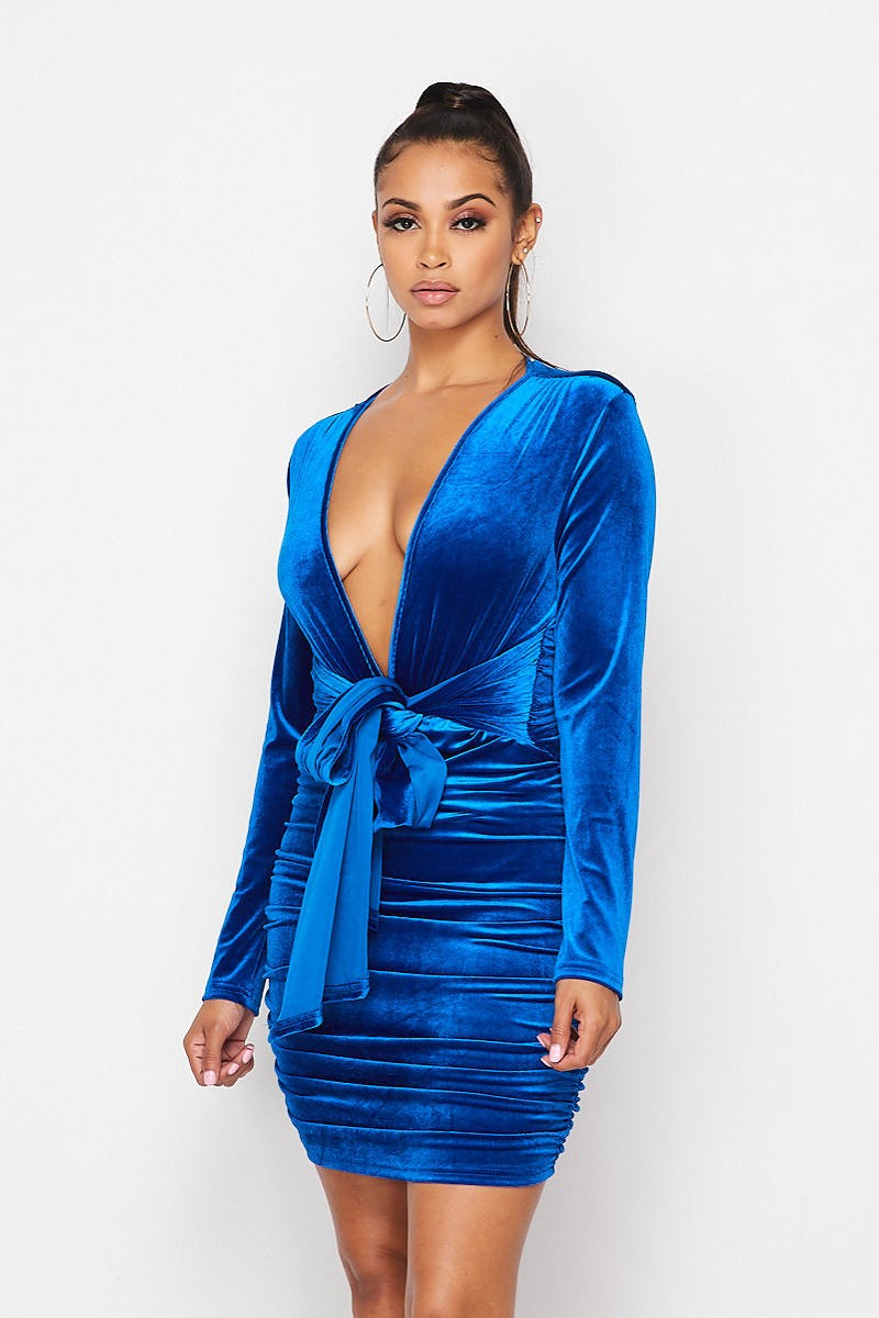 SAPPHIRE VELVET DRESS-DRESS-Fashion Bombshellz | Online Boutique